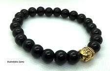 Black Onyx 8mm Bead Elasticated Bracelet Buddha Charm Reiki Healing Stone Chakra