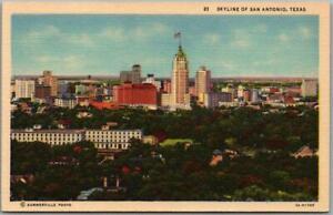 1940s San Antonio, Texas Postcard Bird's-Eye Panorama Skyline View Linen Unused