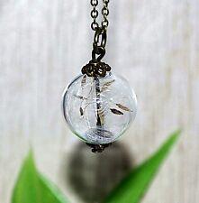 PUSTEBLUME +++ Halskette Kette Anhänger Pusteblumen Glaskugel Kugel bronze