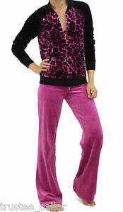 NWT JUICY COUTURE Leopard Pink Magenta Velour Jacket Pants Tracksuit 2 Pces