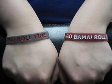 "Alabama Crimson Tide Wristbands Bracelet NCAA ""Go Bama! Roll Tide!"" Set Of 2"