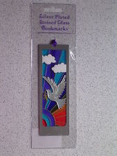 PEACE DOVE BOOKMARK@Stained Glass RAINBOW@SILVER Plated@Unique gift@OLIVE BRANCH