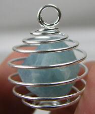 Vietnam 100% Natural Rough Aquamarine Crystal Specimen in Spiral Cage Pendant