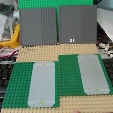 lego lot 4 brick-piece dark gray 16x16 5in x 5in & green Base plates  road