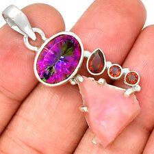 Pink Opal Rough, Rainbow Topaz & Garnet 925 Silver Pendant Jewelry PP203288