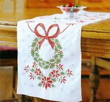 Bucilla Christmas Wreath Holiday Tidings White Tablerunner Cross Stitch Kit NEW