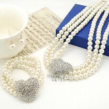 Lusso Cuore Sposa Perle Bianche Set Gioielli,collana E Orecchini & Bracciale