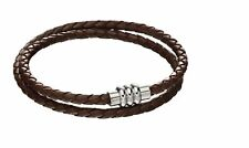 Fred Bennett Mens Woven Plaited Double Row Brown Leather & Stainless Steel