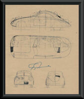 Ferdinand Porsche Autograph Reprint Diagram of 114K1 On 80 Year Old Paper P061