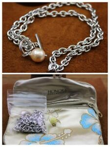 """HONORA """"Champagne Keshi Pearl"""" Cable Chain Necklace Sterling Silver Toggle Clasp"""