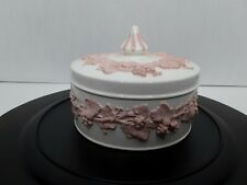 Vintage 1960s Wedgwood England Jasperware Bone and Pink Round Lidded Trinket Box