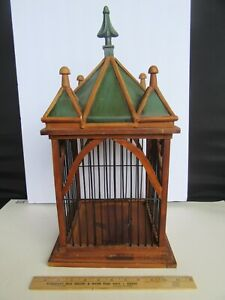 Nice Bombay Cast Iron Finial & Painted Tin & Wood Cathedral Style Bird Cage