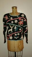 Ugly Christmas Sweater Crazy Wacky Gold Reindeer Candy Canes Santa's Sleigh Sz M
