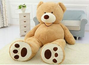 160cm Big Teddy Bear Plush Soft 63'' Toy Doll Shell Cover Zipper No Cotton Newly