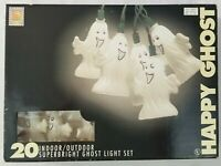 Vintage Happy Ghost 20 Light Set In Box Halloween Blow Mold Ghost Pumpkin Hollow