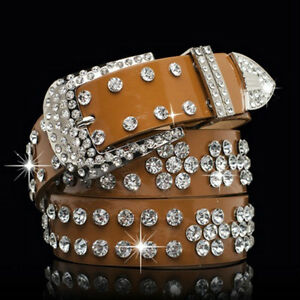 Ladies Rhinestone Belt Faux Leather Cowgirl Style Bling Wide Waistband Classic