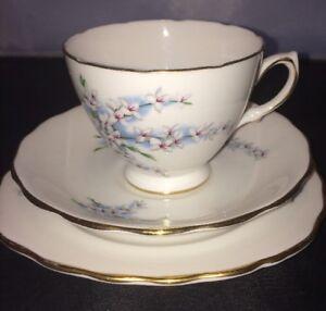Vintage Pretty Royal White Blossom pat no 8203 Bone China  Trio