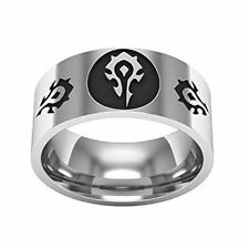 World of Warcraft Horde Logos Stainless Steel BAND RING Adult Size 9