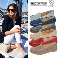 Ladies Leather Suede Loafers Moccasins Women Slip On Deck Shoes UK 3 4 5 6 7 8