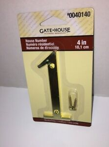 NEW Gate House 4'' Address Number '1' ONE Gold Tone Polished Brass Replacement