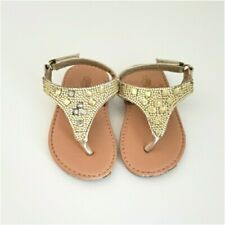 NEW IN BOX Rugged Bear Baby Girls Gold Thong Sandals Size 4 Infant Shoes