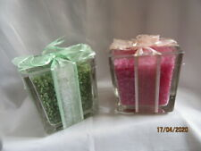 TWO WAXY BEADS PINK / GREEN IN A GLASS HOLDER CANDLES
