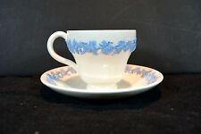 VINTAGE WEDGWOOD QUEENSWARE BLUE CREAM DEMITASSE TEA CUP & SAUCER PAT.# 2243