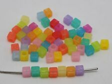 250 Mixed Jelly Color Acrylic Assorted Alphabet Letter Cube Pony Beads 7X7mm
