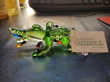 Pre Owned Gallery Green Glass Alligator Gayer With Christmas Lights