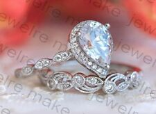Certified 3.00ct White Pear Cut Diamond Halo Engagement 14K White Gold Ring Set