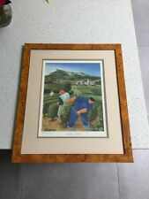 MARGARET LOXTON SIGNED FRAMED LTD EDITION PRINT , BURGUNDY VINEYARDS