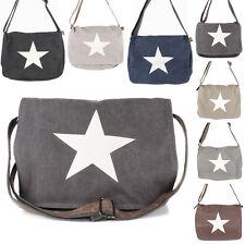 Stern Damen Tasche Canvas Jeans Stoff Messenger Cross Bag Vintage Freizeit NEU