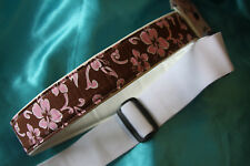 "Surf's Up! It's a Pink and Brown Hawaiian Print 2"" Guitar Strap by LM, AL-HT"