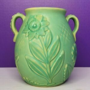 Weller Pottery Green 6 Inch Double Handle Vase