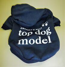 🐾 Hunde Welpen Hoody Kapuzen Pullover Shirt Next Top Dog Model blau S / M NEU