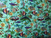 "Green Fish Tank Aquarium Printed Poly Cotton Fabric - BTY - 59"""