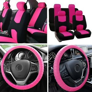 Auto Car Seat Covers Full Set for Solid Benches with Steering Wheel Cover