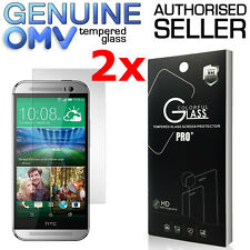 2 x GENUINE Tempered Glass Screen Protector Film for HTC One M8