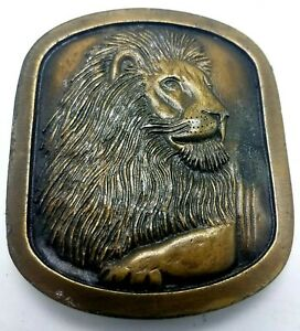 Vtg 1976 Indiana Metal Craft Solid Brass LION Cat Belt Buckle
