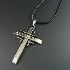 Mens/Womans cross with lords prayer black Rope neckless # 9