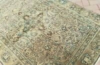 """4'2""""x6'3 HAND-KNOTTED ANTIQUE c1890 TURKISH OUSHAK-TABRIZI TRIBAL WOOL VG-DY RUG"""