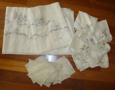 "Vintage Madeira Hand Embroidery Banquet Tablecloth 68"" x 112"" 14 Napkins Flowers"