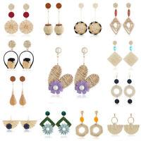 Fashion Women Round Straw Rattan Woven Earrings Ear Stud Dangle Jewelry Gifts