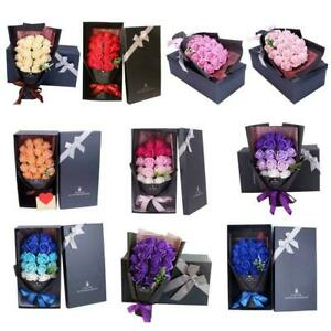 18 Pcs/Set Handmade Soap Flower Bouquet Roses Carnations Gift Gift Bag and W4S0