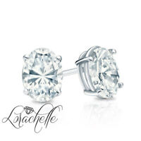 1.0 ct Brilliant Oval Cut Screw Back Earring Studs Real Solid 14K White Gold