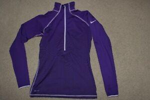 Womens Sz Medium Nike Pro DriFit Hyperwarm 1/2 Zip Top Pullover Fitted Running P
