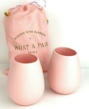 ODEME What A Pair Pink 2 Silicone Wine Glasses FabFitFun Brand New in Package