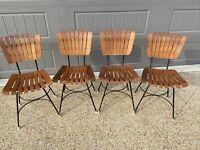 Arthur Umanoff Wood Slat Chair Set Of Four  | Mid Century Mcm Chairs Wooden Mcm