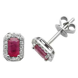 9ct White Gold Octogon Shaped Ruby and Diamond Stud Earrings