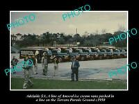 OLD LARGE HISTORIC PHOTO OF ADELAIDE SA, LINE UP OF AMSCOL ICE CREAM TRUCKS 1950